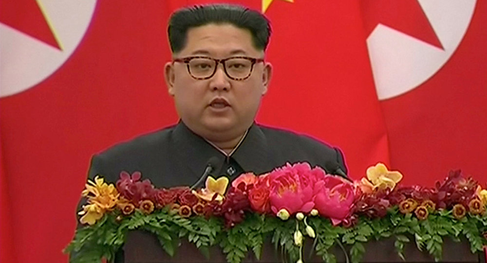 North Korean leader Kim Jong Un speaks during a banquet in Beijing, China