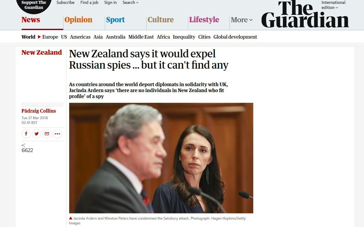 Screengrab of the Guardian story criticizing New Zealand over its apparent lack of solidarity.