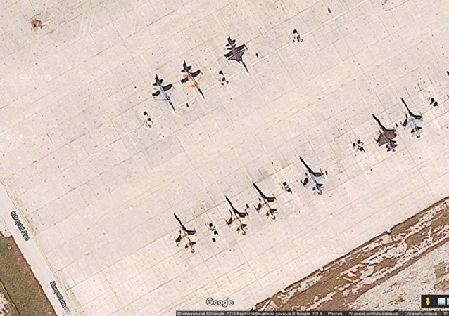 Satellite image of aircraft painted to look like Russian planes at USAF Naval Air Station Key West