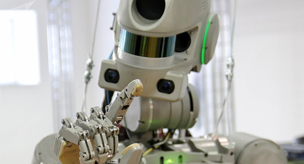 Testing the FEDOR robot for the Spasatel rescue project, at a lab of Android Technics in Russia's Magnitogorsk. (File)