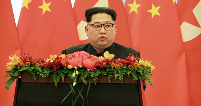 North Korean leader Kim Jong Un speaks as he paid an unofficial visit to Beijing, China in Pyongyang
