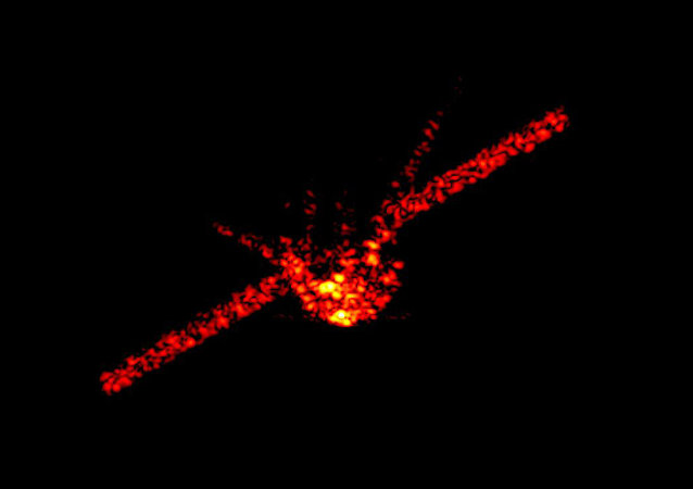 China's falling space station Tiangong-1 can be seen in this radar image from the Fraunhofer Institute for High Frequency Physics and Radar Techniques near Bonn, Germany
