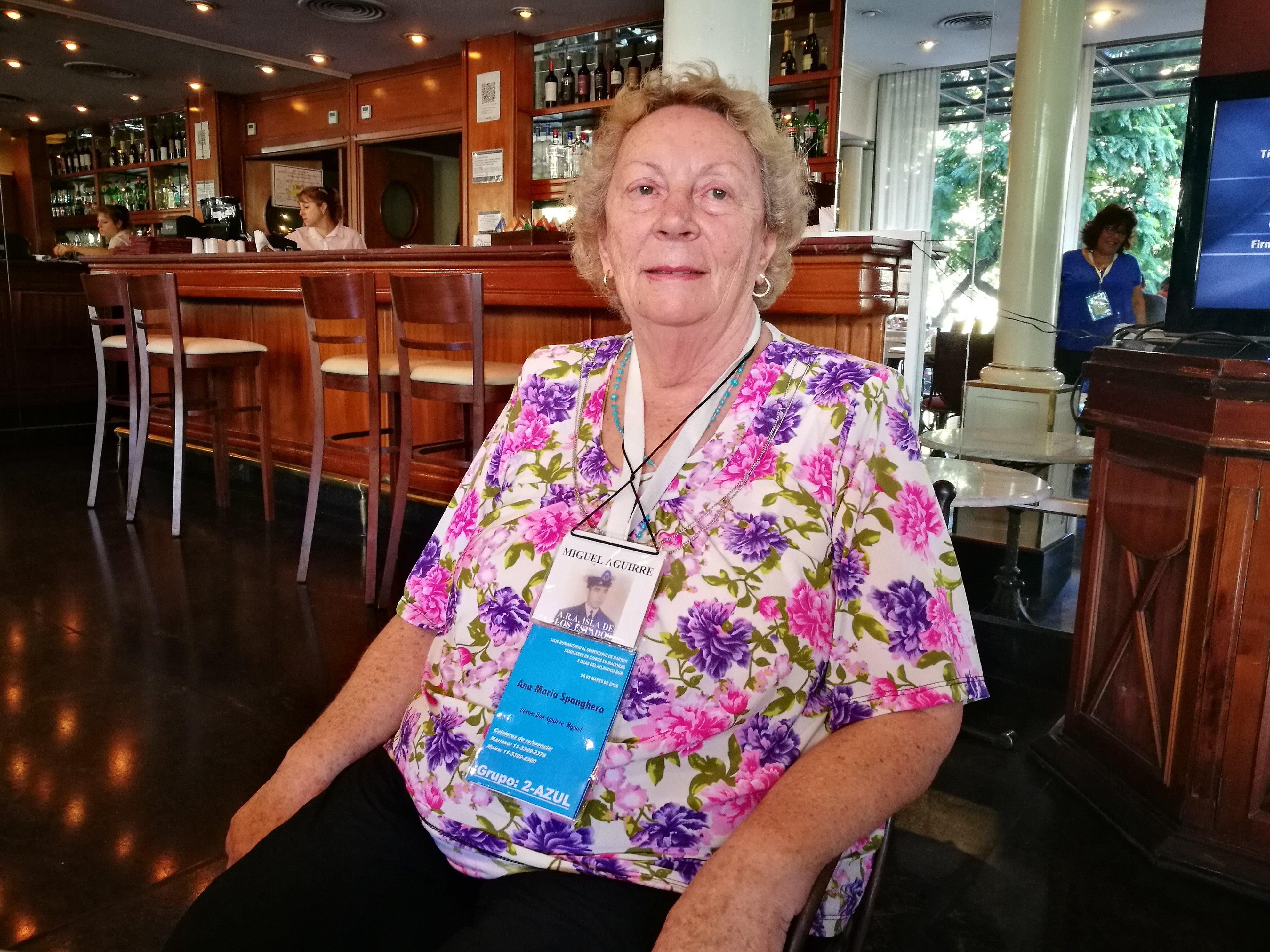 Ana María Spanghero, widow of Miguel Aguirre killed in combat on the Malvinas Islands.