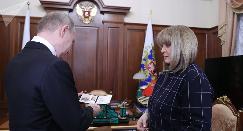 Russian President Vladimir Putin and Russian Central Election Commission (CEC) chairwoman Ella Pamfilova.