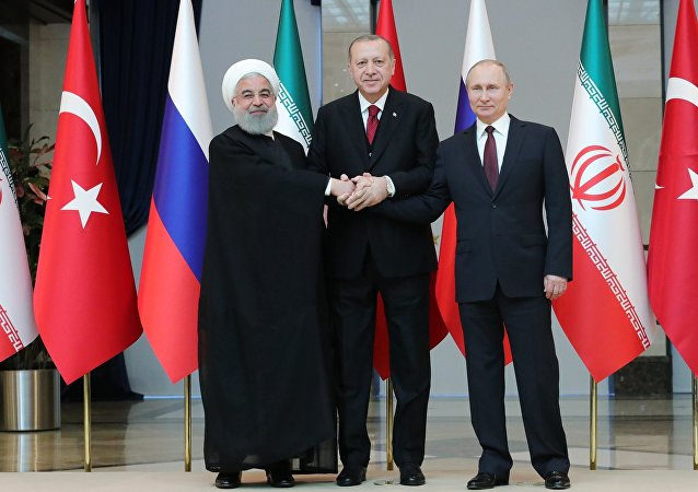 Russian President Vladimir Putin, Turkish President Recep Tayyip Erdogan and Iranian President Hassan Rouhani, right to left, pose for a photo before a meeting in Ankara