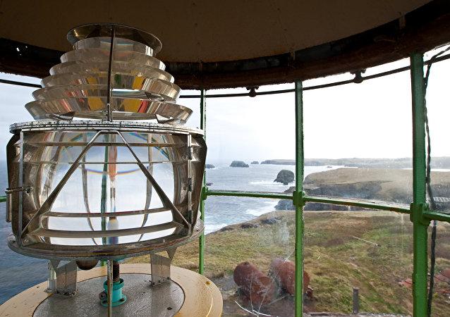 Martin Shpanberg Lighthouse on the Crab Cape, Shikotan Island, Kuril Islands
