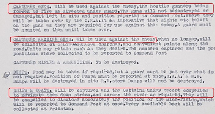 Excerpt from a British Dvina (North Russia) Force battle instructions issued on 5 August 1919