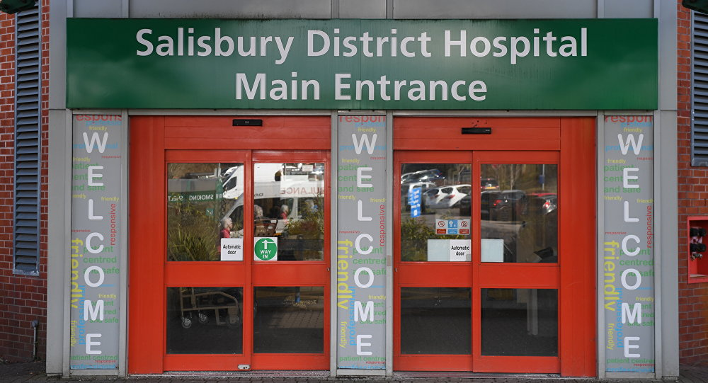 A general view shows the main entrance to Salisbury District Hospital in Salisbury, southern England, on March 6, 2018.