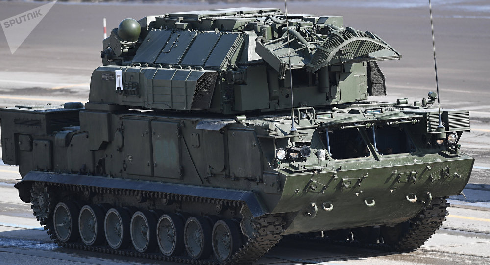 A TOR-M2U all-weather short range missile systems during the rehearsal of the Victory Parade at the Alabino military training ground in the Moscow Region