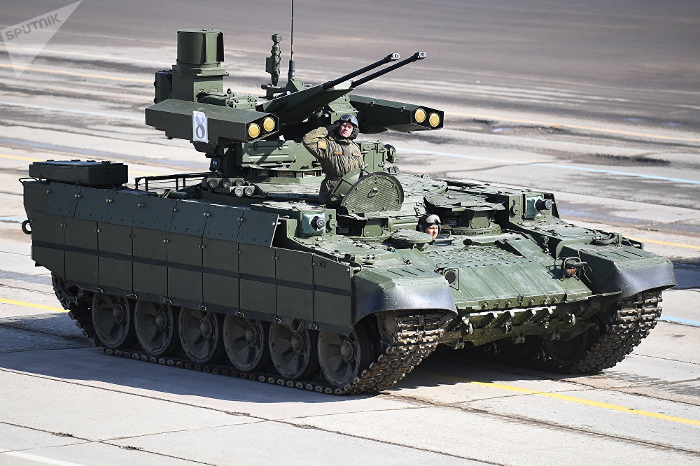 A Terminator armored fighting vehicle during a Victory Day Military Parade rehearsal at the Alabino military training ground in the Moscow Region