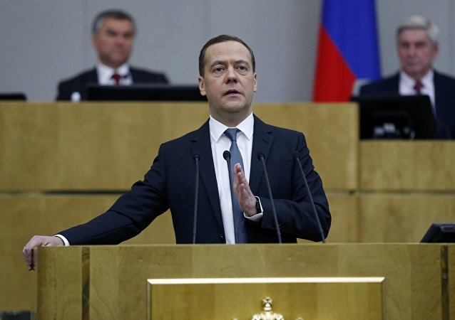 Prime Minister Dmitry Medvedev presents the 2017 Government performance report at the State Duma