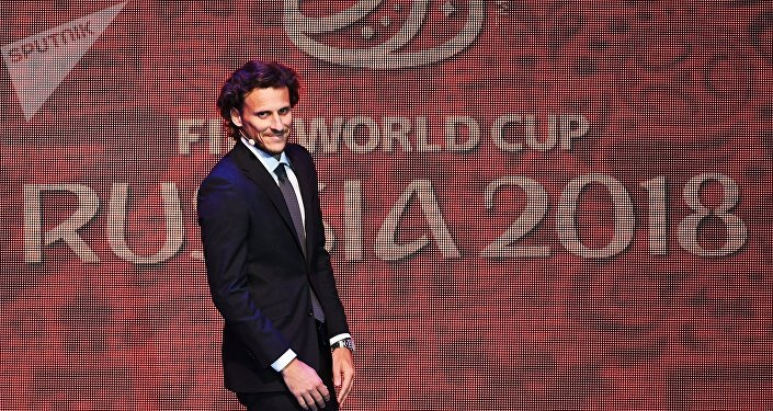 Uruguayan footballer Diego Forlan during the final draw of the 2018 FIFA World Cup