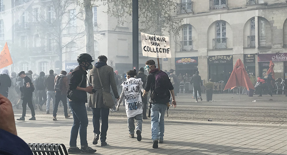 protest in Nantes, france