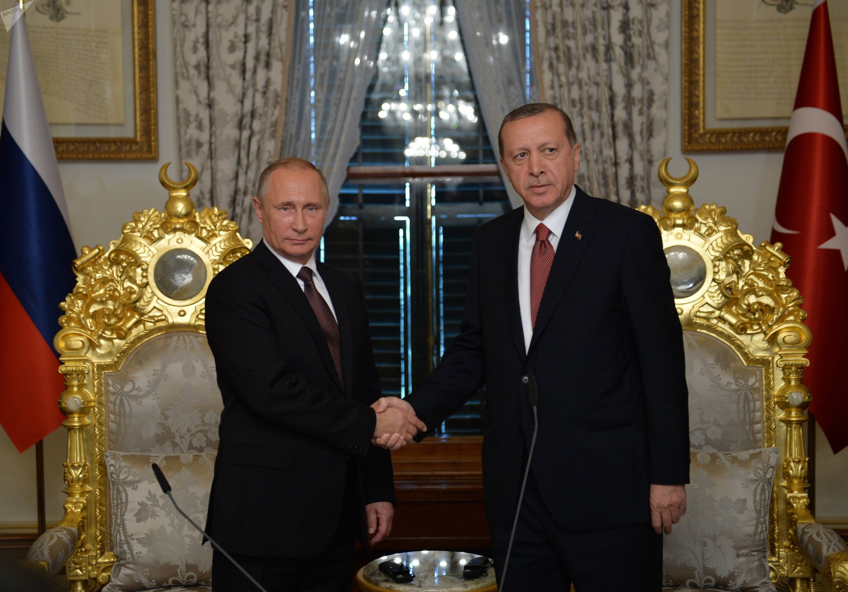 Presidents Vladimir Putin of Russia and Recep Tayyip Erdogan (right) of Turkey meeting in Istanbul, October 10, 2016
