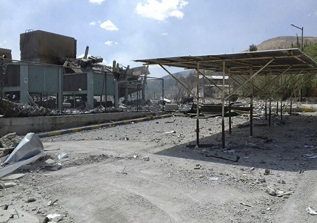 Damage of the Syrian Scientific Research Center which was attacked by U.S., British and French military strikes to punish President Bashar Assad for suspected chemical attack against civilians, in Barzeh, near Damascus, Syria