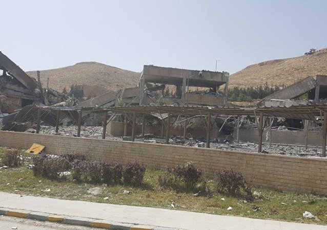 Barzah Research and Development Center after being struck by U.S. and coalition operations in Damascus, Syria