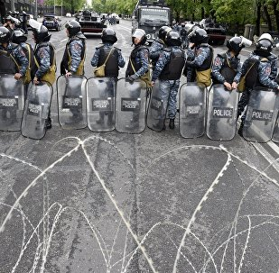 Police in the street in Yerevan. Opposition stages protests in the Armenian capital against former president Serzh Sargsyan's election as Prime Minister