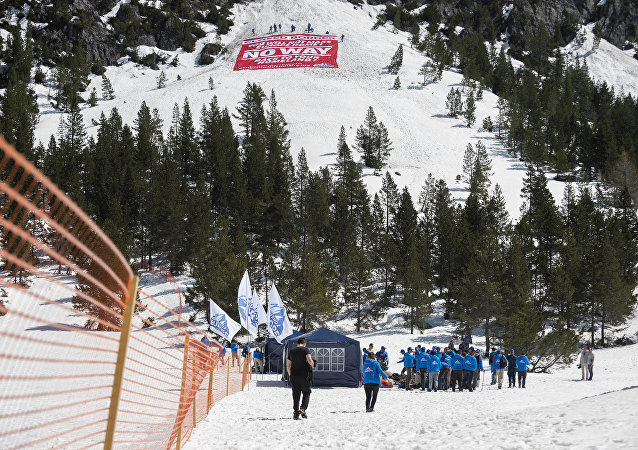 Activists from the French right-wing political movement Generation Identitaire (GI) and European anti-migrant group Defend Europe conduct an operation titled Mission Alpes to control access of migrants using the Col de l'Echelle mountain pass on April 21, 2018 in Nevache, near Briancon, on the French-Italian border