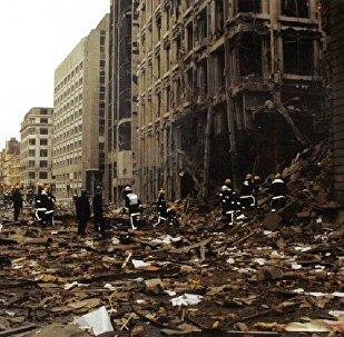 Firemen inspect the damage in Bishopsgate after the blast in April 1993