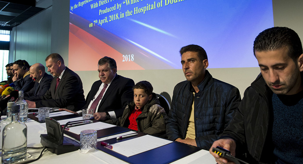 yrians, first three from right, brought to The Hague by Russia in a move to discredit reports of an April 7, 2018, chemical weapons attack in the Syrian town of Douma appear at a press conference in The Hague, Netherlands, Thursday, April 26, 2018, after briefing members of the Organization for the Prohibition of Chemical Weapons, (OPCW)