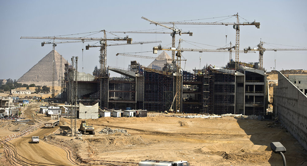 A general view shows construction at the new Grand Egyptian Museum near the Giza pyramids in Cairo on June 4, 2015