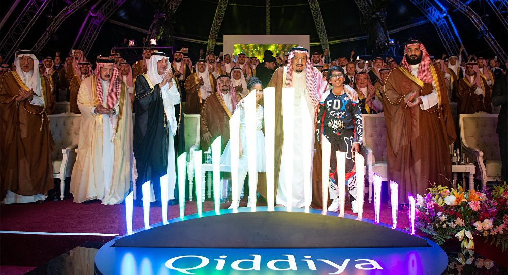Saudi Arabia's King Salman bin Abdulaziz Al Saud (C) and Crown Prince Mohammed bin Salman (R) attend Qiddiya, multi-billion dollar entertainment resort, launching ceremony in Riyadh, Saudi Arabia April 28, 2018