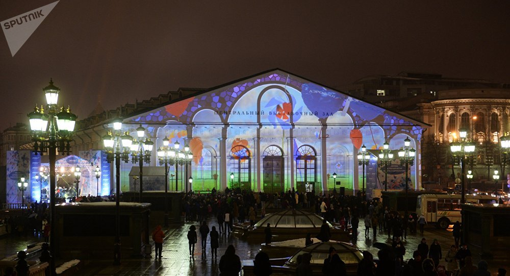 Spring Has Arrived light show held as part of the Circle of Light Moscow International Festival on the Manege Central Exhibition Hall on Manezh Square in Moscow.