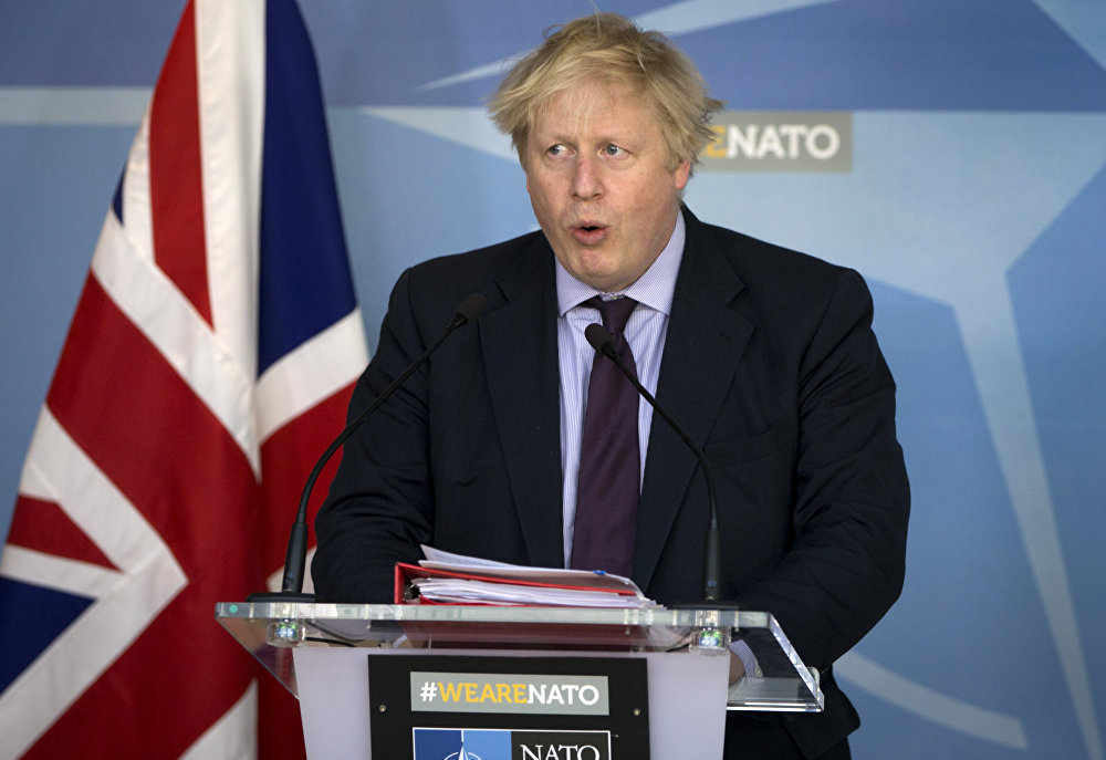 British Foreign Secretary Boris Johnson speaks during a media conference at NATO headquarters in Brussels on Monday, March 19, 2018.