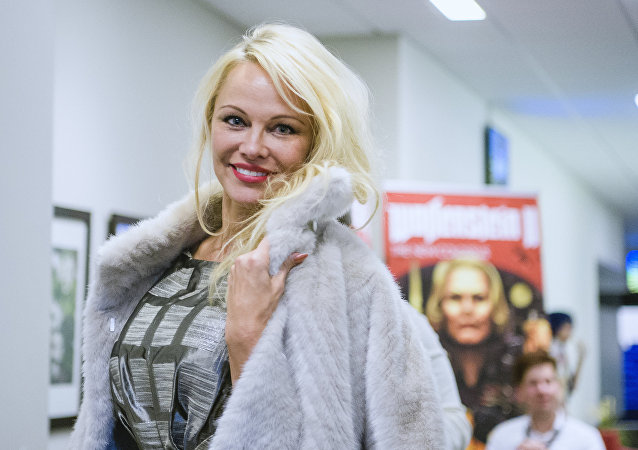 Canadian American actress and model, Pamela Anderson, arrives to attend the first day of the Stockholm Comic Con in Kistamassan fair venue north of Stockholm on September 15, 2017