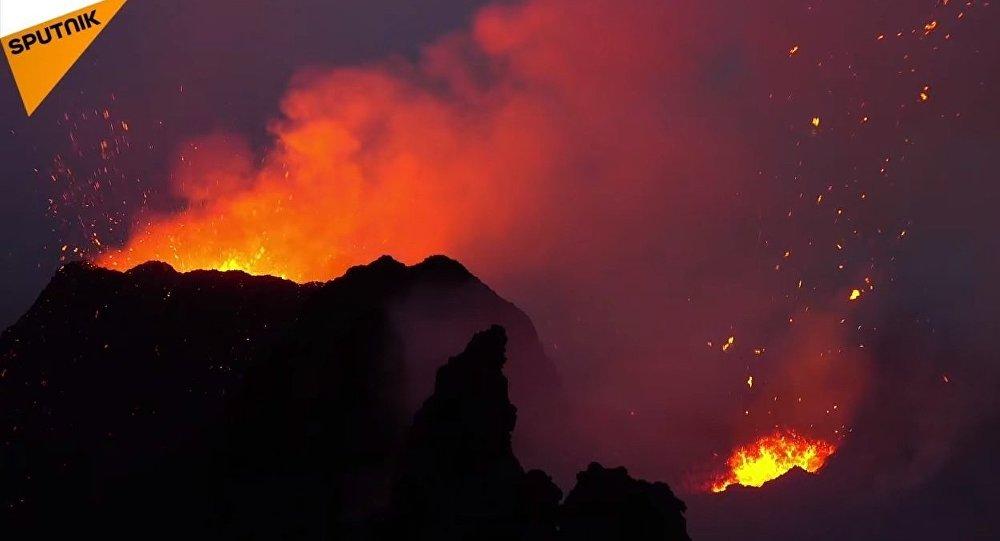 France: Volcano Piton de la Fournaise on Reunion Island Erupts