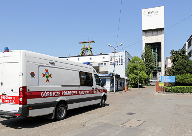 Emergency vehicle parks outside the JSW mine where coal miners are missing underground after a strong quake hit a mine in Jastrzebie Zdroj, Poland May 5, 2018