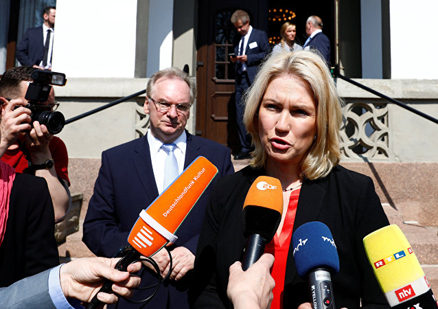 Minister President of the state of Mecklenburg-West Pomerania, Manuela Schwesig, addresses the media before a meeting of leaders of East German federal states in Bad Schmiedeberg, Germany, April 18, 2018