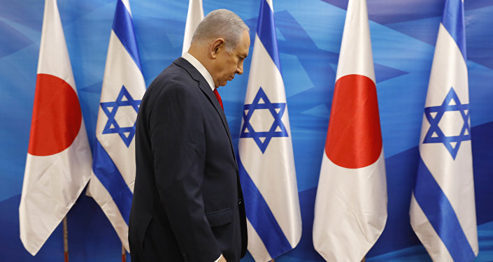 Israeli Prime Minister Benjamin Netanyahu ahed of his meeting with Japanese Prime Minister Shinzo Abe, at the Prime Minister's Office in Jerusalem Wednesday, May 2, 2018.