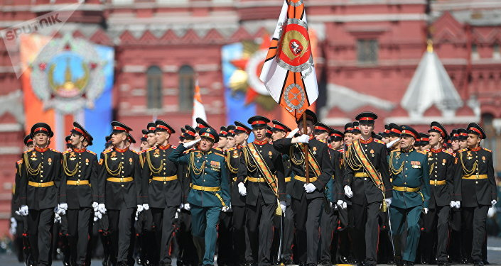 Parade crew of Suvorov Military School on the military parade devoted to the 73rd anniversary of the victory in the Great Patriotic War of 1941-1945