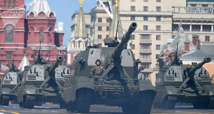 The Self-propelled Artillery Cannons (SPAC)  Koalitsiya-SV  and mamokhodny artillery cannons (SAU) Msta-S on the military parade devoted to the 73rd anniversary of the victory in the Great Patriotic War of 1941-1945