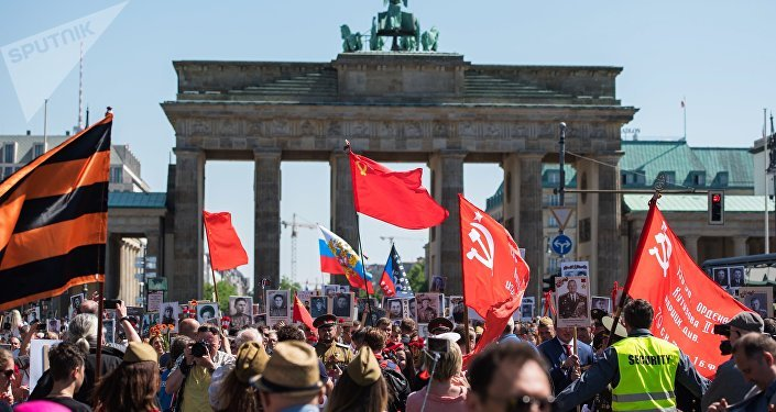 Participants of the action Immortal regiment in Berlin