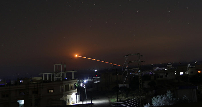 Missile fire is seen over Daraa, Syria May 10, 2018
