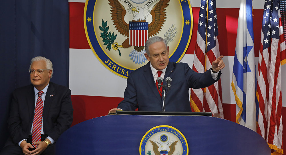 Israel's Prime Minister Benjamin Netanyahu delivers a speech during the opening of the US embassy in Jerusalem on May 14, 2018