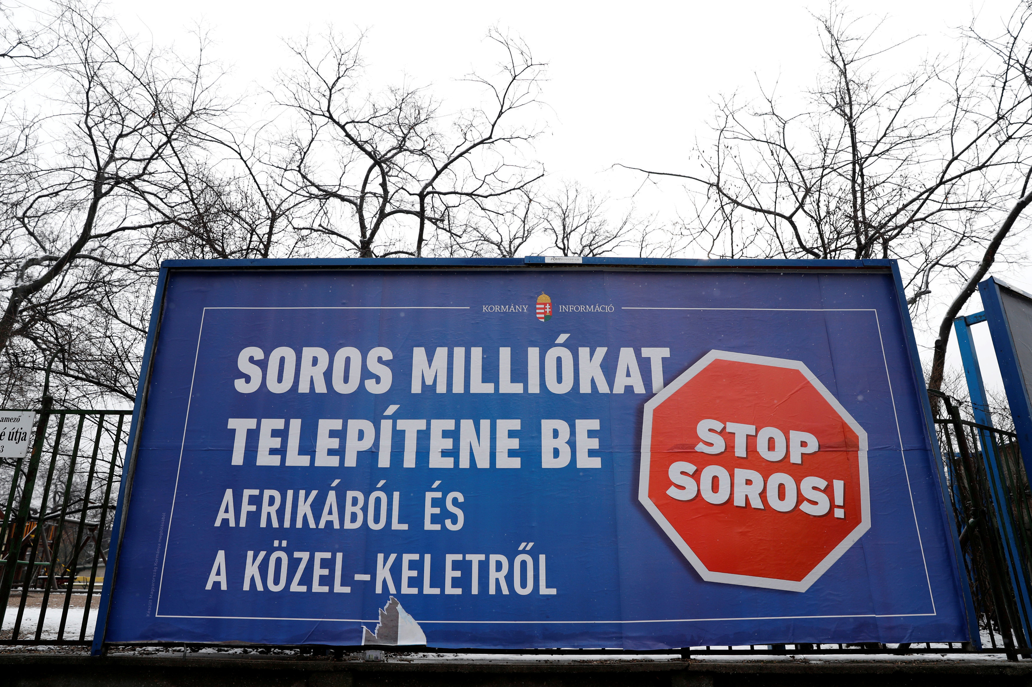 A government billboard promoting the 'Stop Soros Act' in Budapest, Hungary, February 14, 2018
