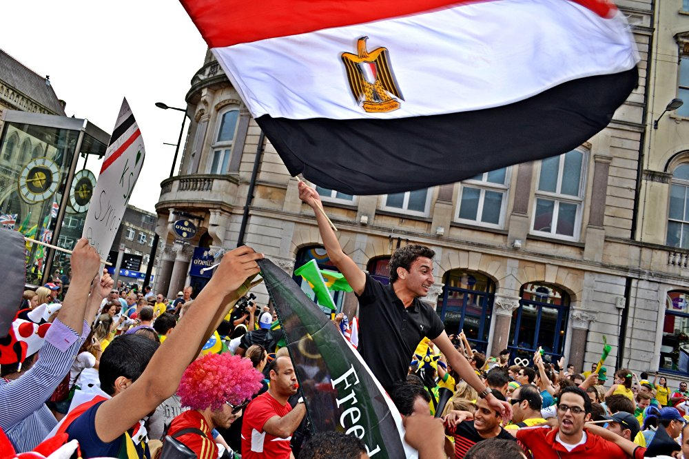 Ahmed supporting the Egyptian team