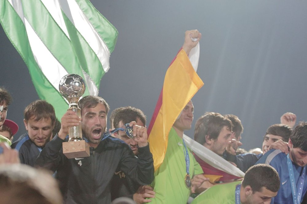 Abkhazian players celebrate winning the Conifa World Cup in 2016