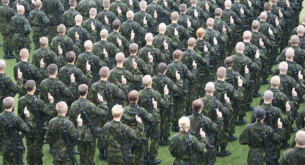 Finnish conscripts giving their military oath