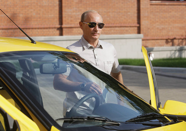 August 27, 2010. Prime Minister Vladimir Putin will drive along the Chita-Khabarovsk highway in a Lada Kalina
