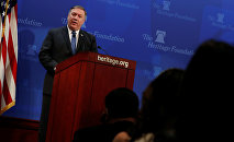 U.S. Secretary of State Mike Pompeo delivers remarks on the Trump administration's Iran policy at the Heritage Foundation in Washington, U.S. May 21, 2018