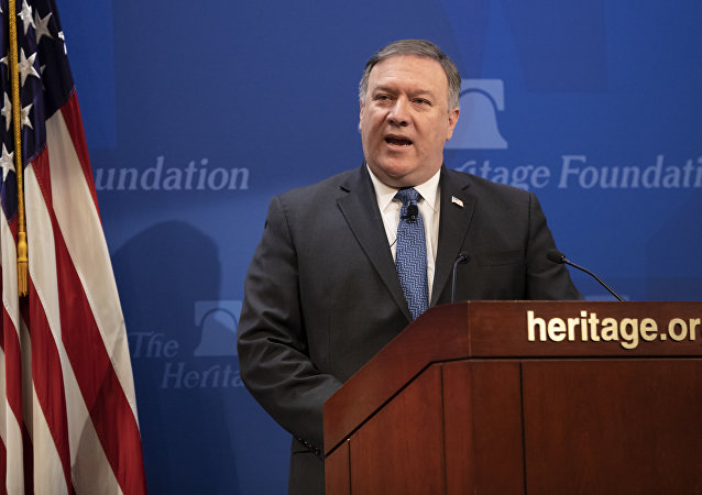 Secretary of State Mike Pompeo speaks at the Heritage Foundation, a conservative public policy think tank, in Washington, Monday, May 21, 2018