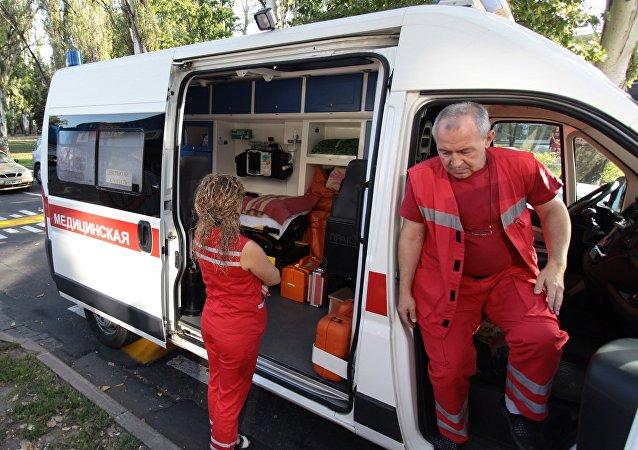 An ambulance in Donetsk. File photo
