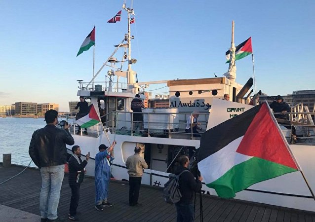 Al-Awda, one of four ships on its way to Gaza in support of the Great Return March, departs from Copenhagen, Denmark.