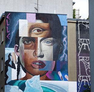An artwork by urban artist 'Elle' is pictured as part of the first 'Berlin Mural Fest 2018', where national and international urban artists create a large open-air gallery to enrich urban spaces, in Berlin, Germany, May 21, 2018