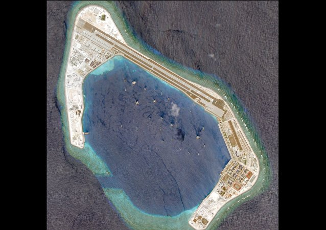Satellite photo dated March 20, 2018 shows Subi Reef.