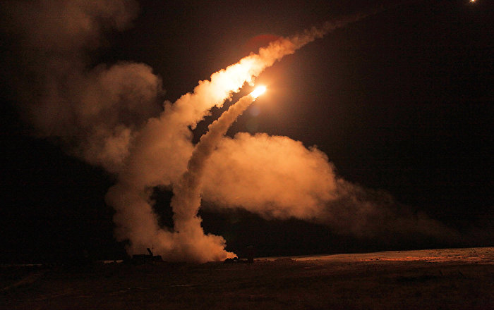 Night launch of S-400 Triumf missiles from an anti-aircraft weapon system at Ashuluk proving grounds during an Aerospace Defence Forces tactical drill